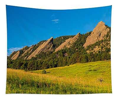 Boulder Colorado Flatirons Sunrise Golden Light Tapestry