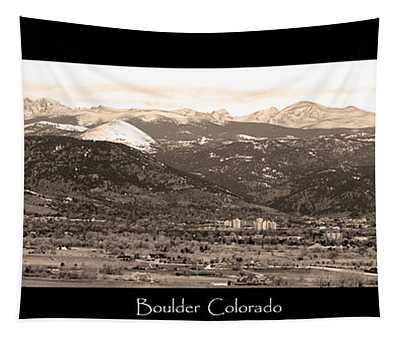 Boulder Colorado Sepia Panorama Poster Print Tapestry