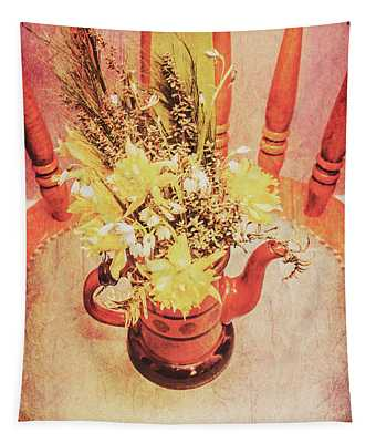 Bouquet Of Dried Flowers In Red Pot Tapestry