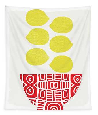 Bowl Of Lemons- Art By Linda Woods Tapestry