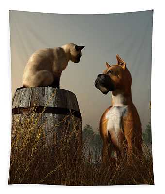 Boxer And Siamese Tapestry