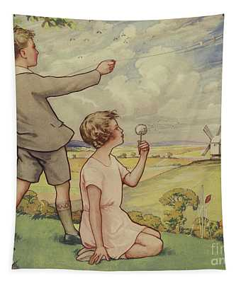 Boy And Girl Flying A Kite Tapestry