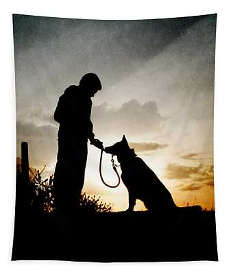 Boy And His Dog Tapestry