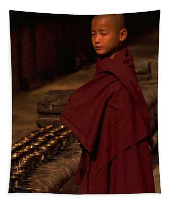 Boy Buddhist In Bodh Gaya Tapestry