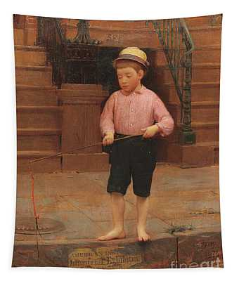 Boy Fishing At 58 And A Half East 10th Street, 1871 Tapestry