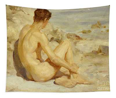 Boy On A Beach Tapestry