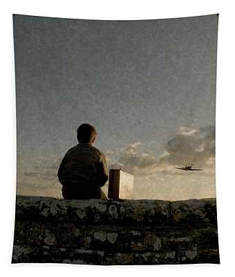 Boy On Wall Tapestry