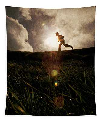 Boy Running Tapestry