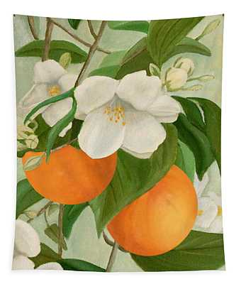 Branch Of Orange Tree In Bloom Tapestry