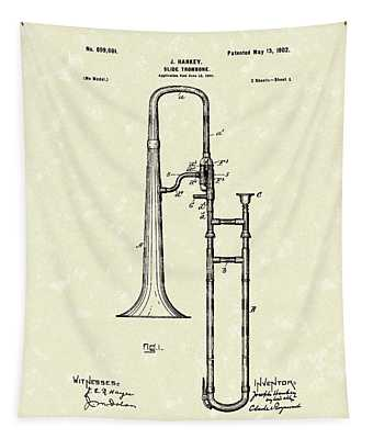 Brass Trombone Musical Instrument 1902 Patent Tapestry