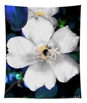 Bright Blue Accents White Vinca Tapestry