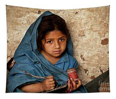 Bright Eyed Girl Tapestry