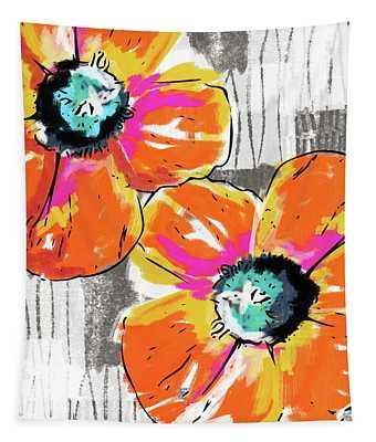 Bright Orange Poppies- Art By Linda Woods Tapestry