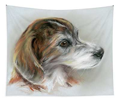 Brindle Beagle Mix Portrait Tapestry