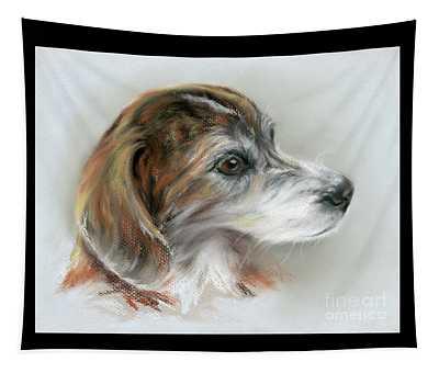 Brindle Beagle Mix Portrait Tapestry