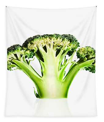 Broccoli Cutaway On White Tapestry