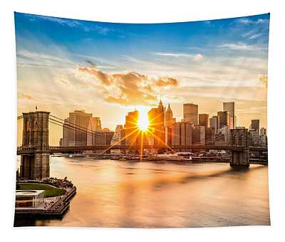 Brooklyn Bridge And The Lower Manhattan Skyline At Sunset Tapestry