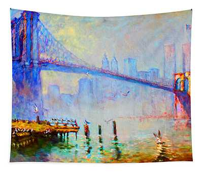 Brooklyn Bridge In A Foggy Morning Tapestry
