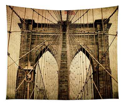 Tapestry featuring the photograph Brooklyn Bridge Nostalgia by Jessica Jenney