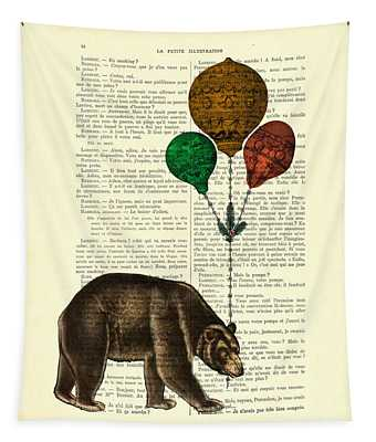 Brown Bear With Balloons Tapestry