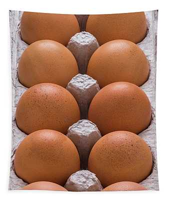 Brown Eggs In Carton Tapestry