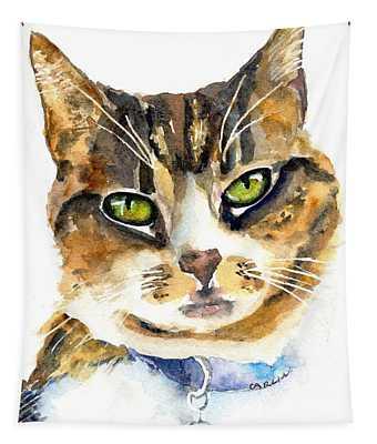 Brown Tabby Cat Watercolor Tapestry