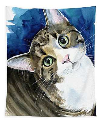 Bubbles - Tabby Cat Painting Tapestry
