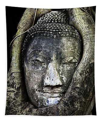 Buddha Head In Banyan Tree Tapestry