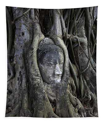 Buddha Head In Tree Tapestry