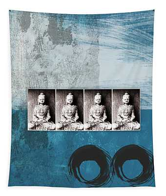 Buddhas In Blue- Contemporary Art By Linda Woods. Tapestry