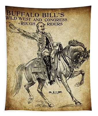 Buffalo Bill And Horse Promotional 19th Century Tapestry