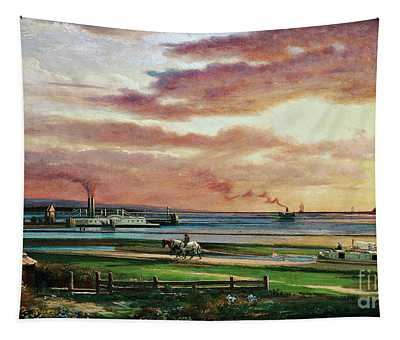 Buffalo Harbor From The Foot Of Porter Avenue, 1871 Tapestry