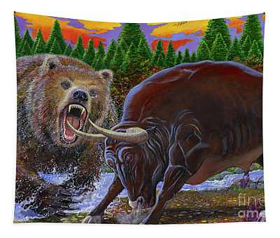 Bull And Bear Tapestry