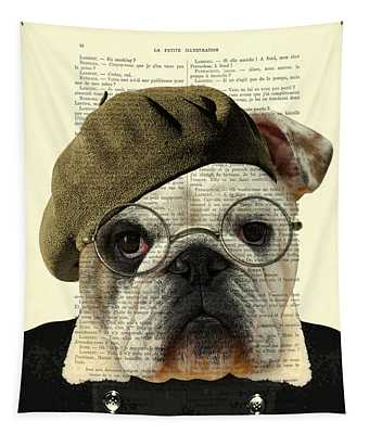 Bulldog Portrait, Animals In Clothes Tapestry