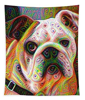 Bulldog Surreal Deep Dream Image Tapestry