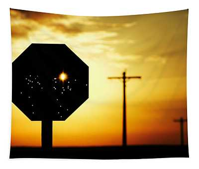 Bullet-riddled Stop Sign Tapestry