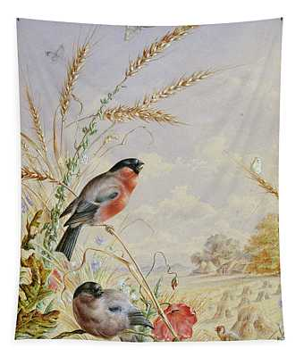Bullfinches In A Harvest Field Tapestry