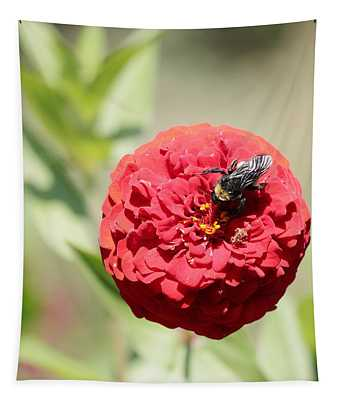 Bumble Bee On Zinnia Tapestry