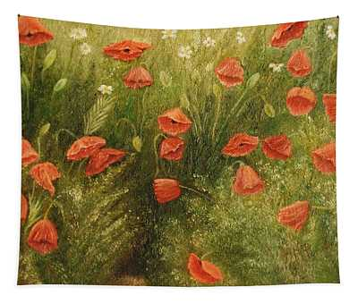Bunch Of Poppies Tapestry