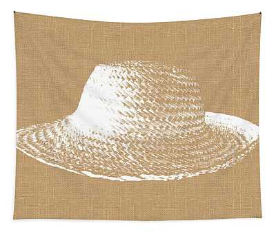 Burlap And White Sun Hat- Art By Linda Woods Tapestry