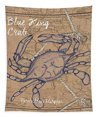 Burlap Blue Crab Tapestry
