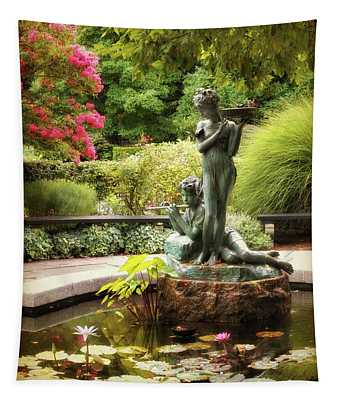 Tapestry featuring the photograph Burnett Fountain Garden by Jessica Jenney