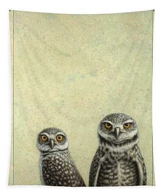 Tapestry featuring the painting Burrowing Owls by James W Johnson