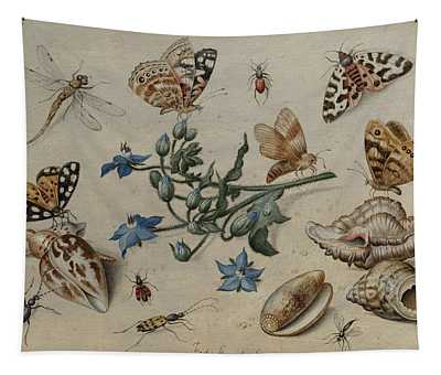 Butterflies, Clams, Insects And Flowers Tapestry