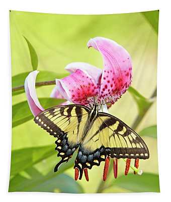 Butterfly And Lily Tapestry
