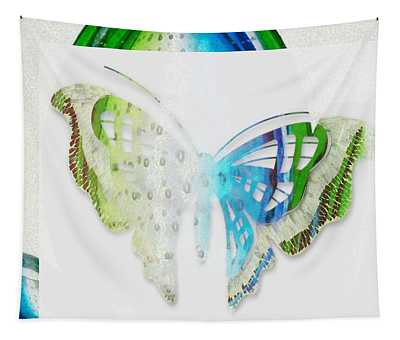 Butterfly Blue And Green Tapestry
