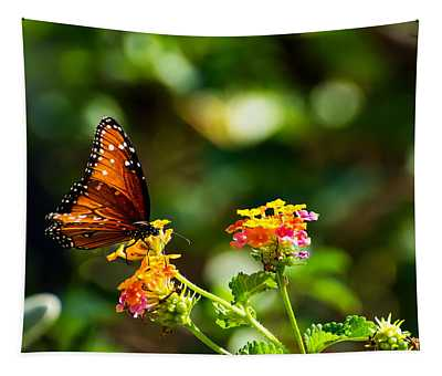 Butterfly On A Flower Tapestry
