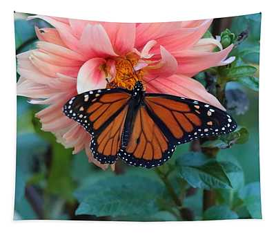 Butterfly On Dahlia Tapestry