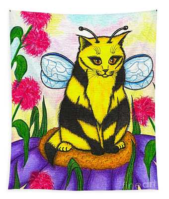 Buzz Bumble Bee Fairy Cat Tapestry
