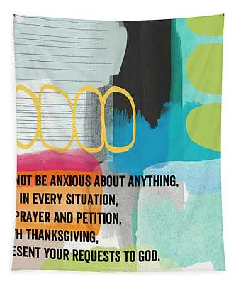 By Prayer And Petition- Contemporary Christian Art By Linda Wood Tapestry